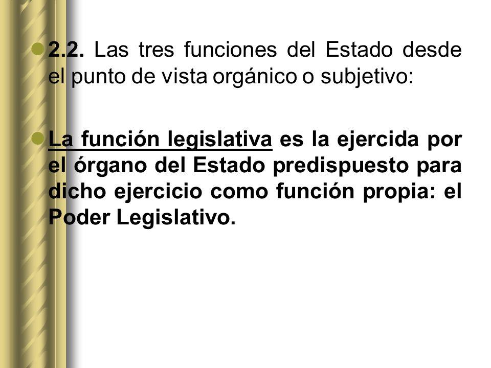 2.2. Las tres funciones del Estado desde el punto de vista orgánico o subjetivo: