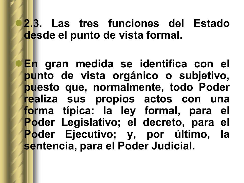 2.3. Las tres funciones del Estado desde el punto de vista formal.