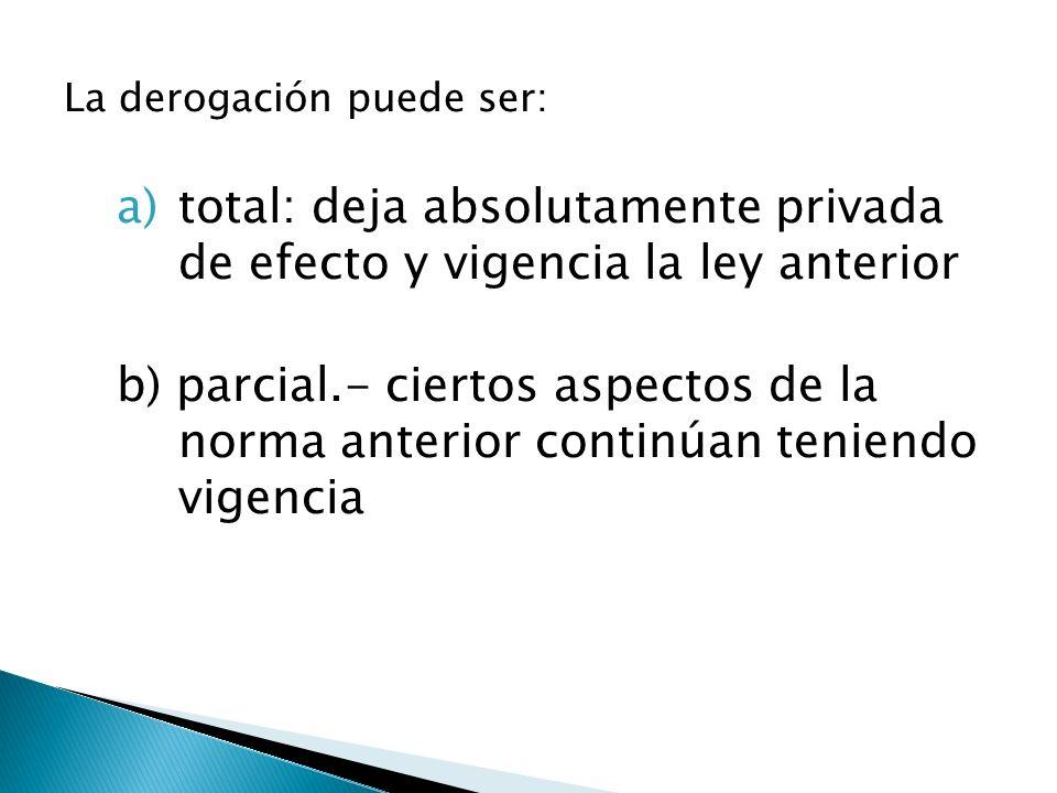 total: deja absolutamente privada de efecto y vigencia la ley anterior