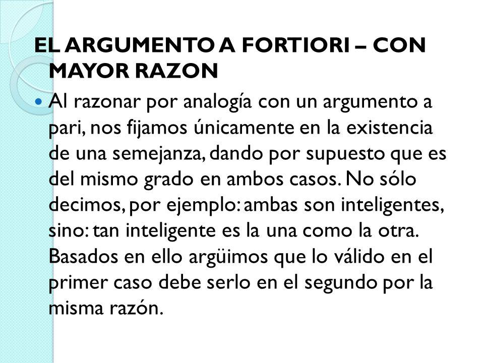 EL ARGUMENTO A FORTIORI – CON MAYOR RAZON