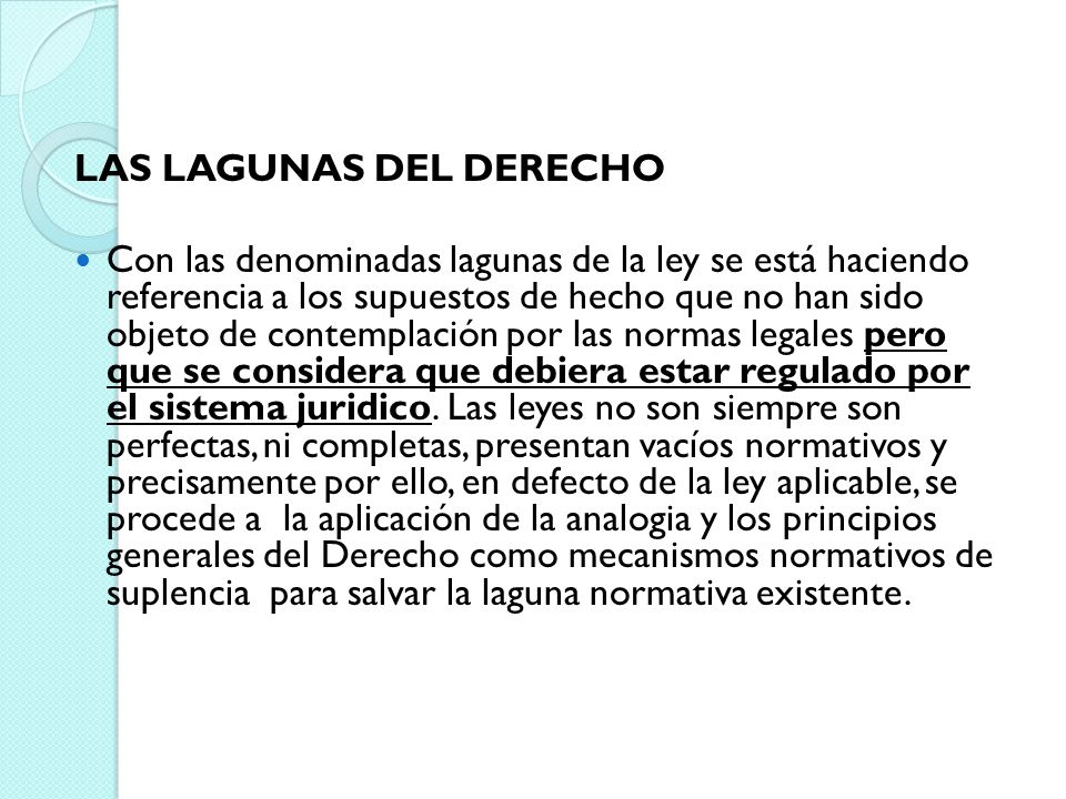 LAS LAGUNAS DEL DERECHO
