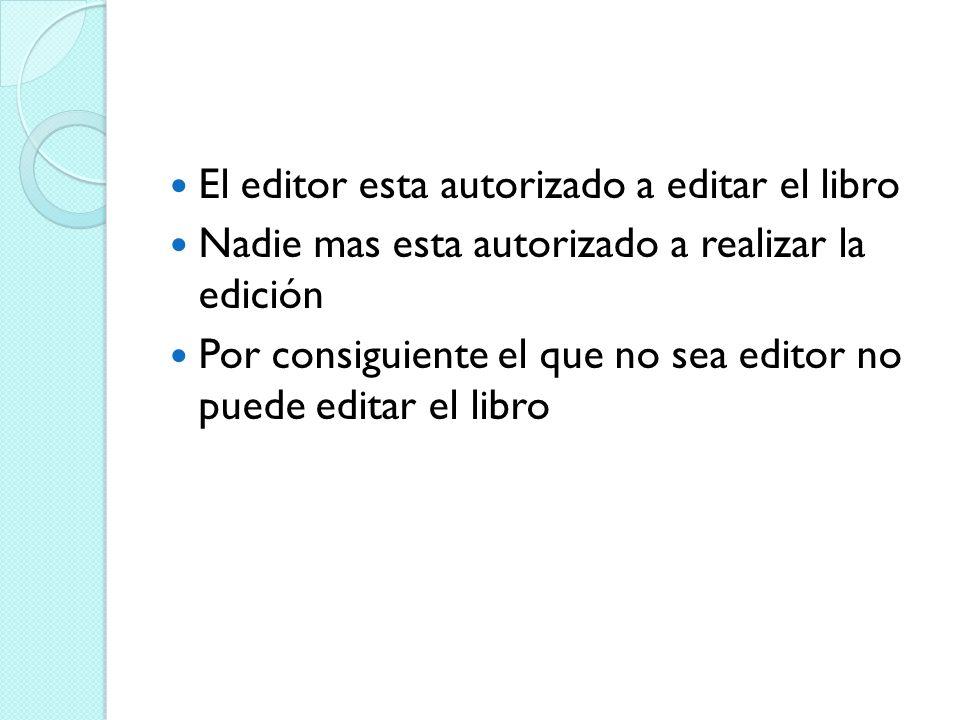 El editor esta autorizado a editar el libro
