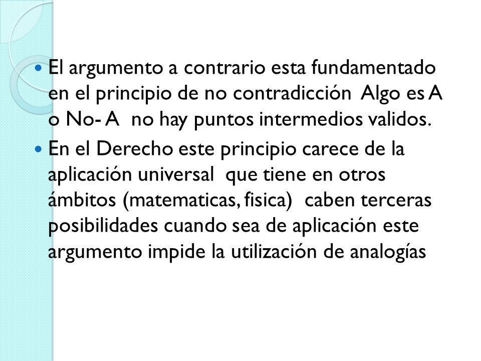 El argumento a contrario esta fundamentado en el principio de no contradicción Algo es A o No- A no hay puntos intermedios validos.