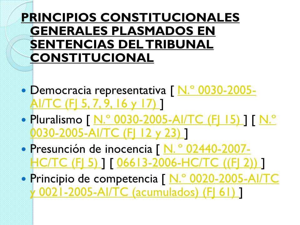 PRINCIPIOS CONSTITUCIONALES GENERALES PLASMADOS EN SENTENCIAS DEL TRIBUNAL CONSTITUCIONAL