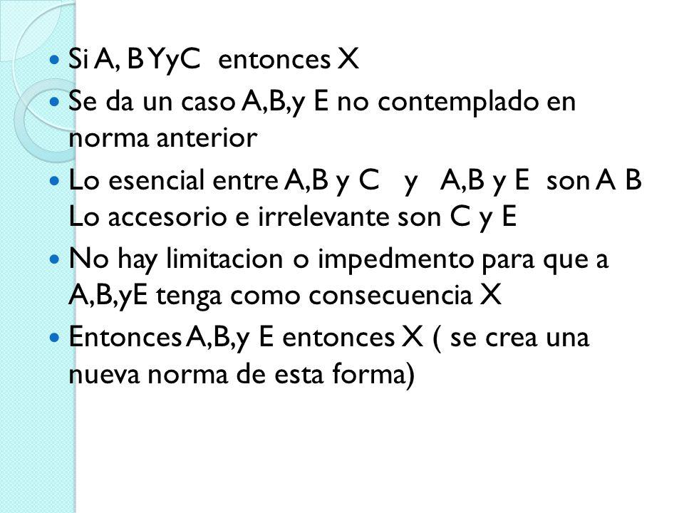 Si A, B YyC entonces X Se da un caso A,B,y E no contemplado en norma anterior.