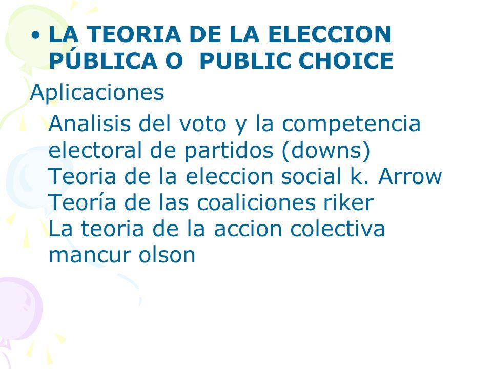 LA TEORIA DE LA ELECCION PÚBLICA O PUBLIC CHOICE