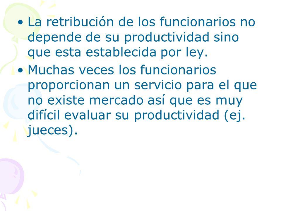 La retribución de los funcionarios no depende de su productividad sino que esta establecida por ley.