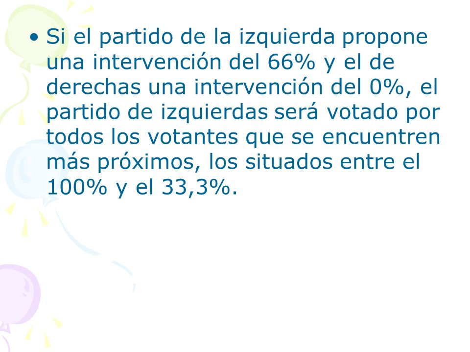 Si el partido de la izquierda propone una intervención del 66% y el de derechas una intervención del 0%, el partido de izquierdas será votado por todos los votantes que se encuentren más próximos, los situados entre el 100% y el 33,3%.