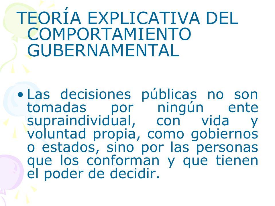 TEORÍA EXPLICATIVA DEL COMPORTAMIENTO GUBERNAMENTAL