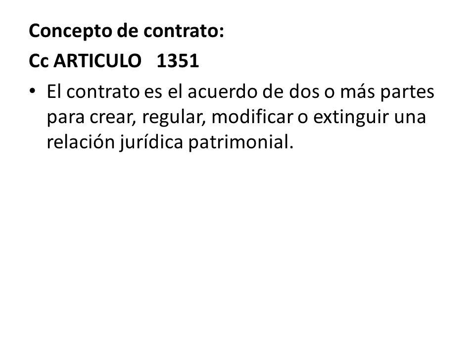 Concepto de contrato: Cc ARTICULO 1351.