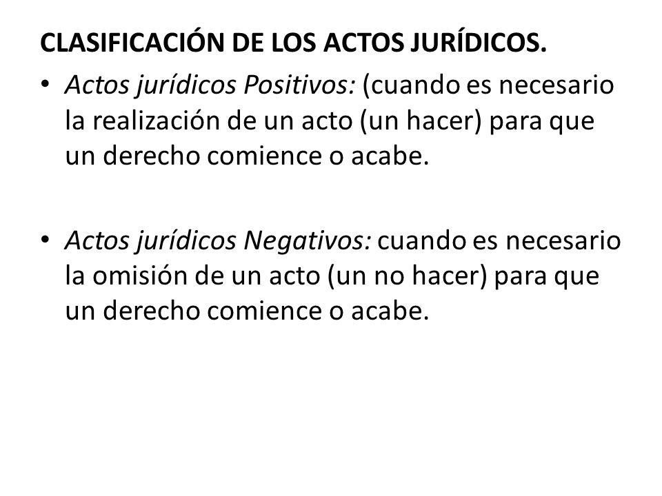 CLASIFICACIÓN DE LOS ACTOS JURÍDICOS.