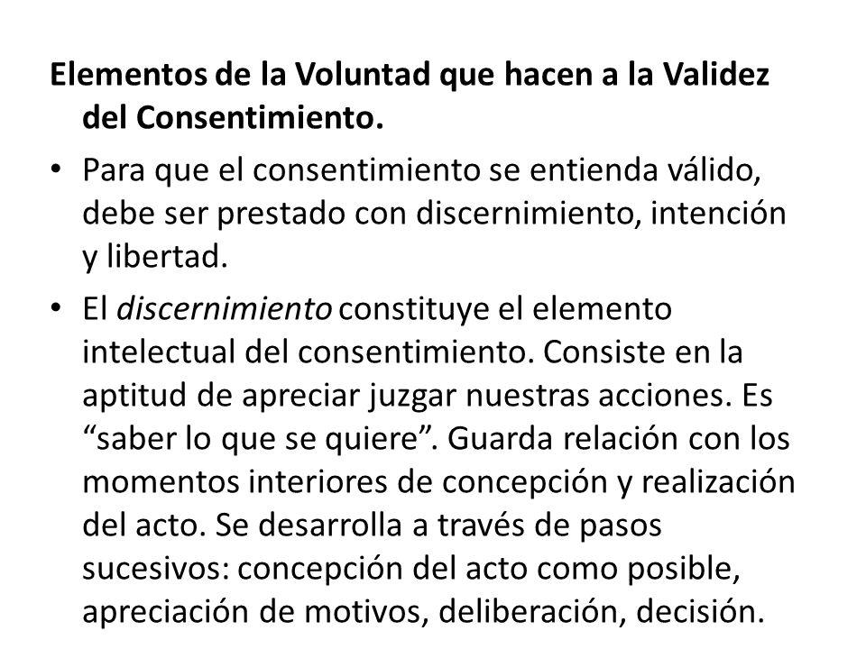 Elementos de la Voluntad que hacen a la Validez del Consentimiento.