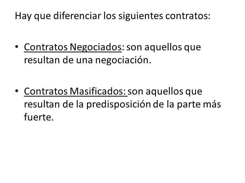 Hay que diferenciar los siguientes contratos: