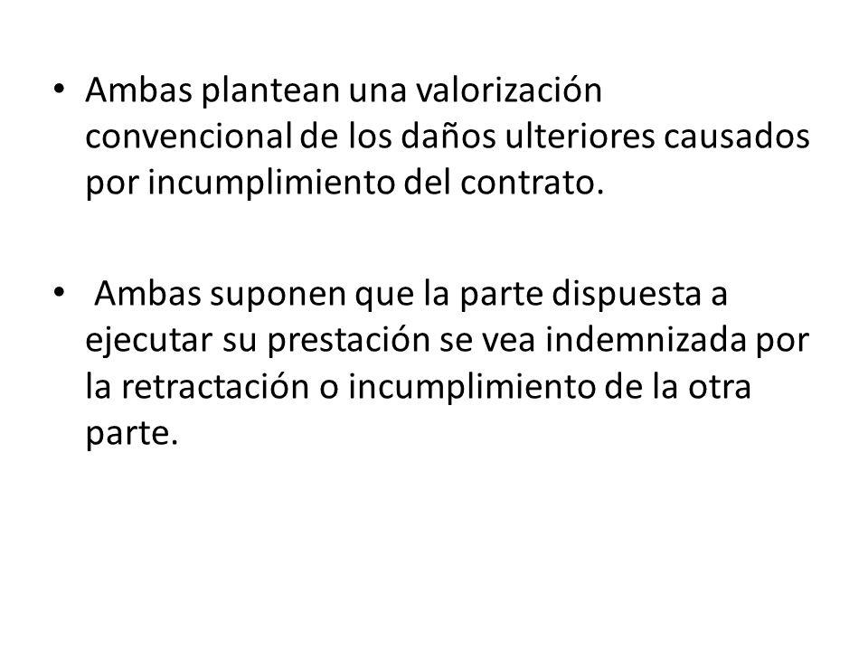 Ambas plantean una valorización convencional de los daños ulteriores causados por incumplimiento del contrato.