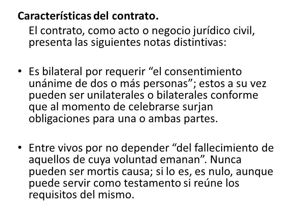 Características del contrato.