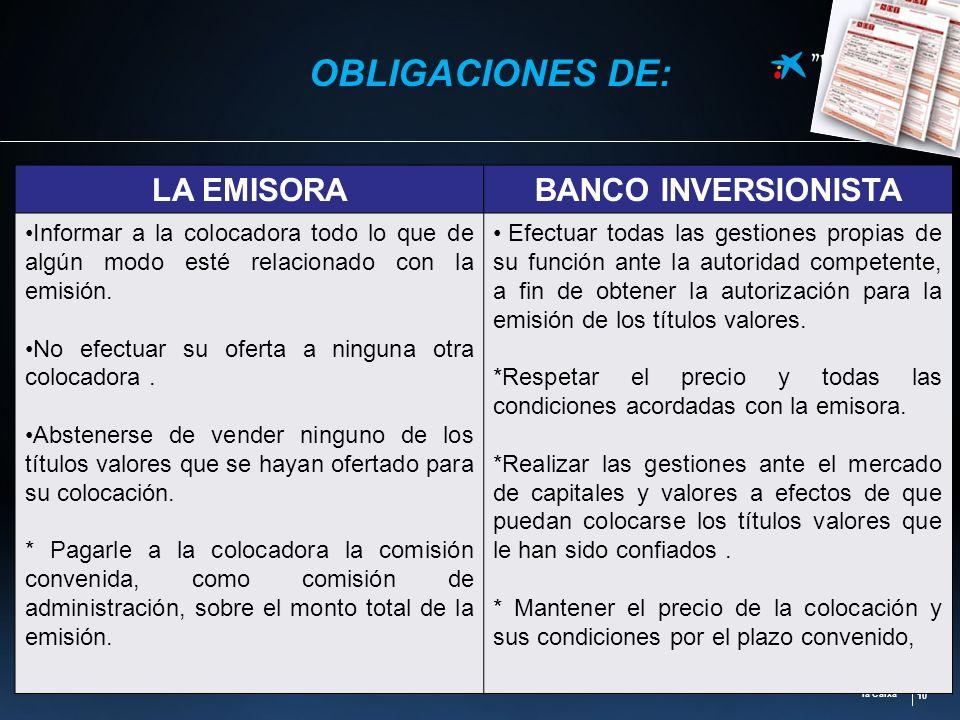 OBLIGACIONES DE: LA EMISORA BANCO INVERSIONISTA