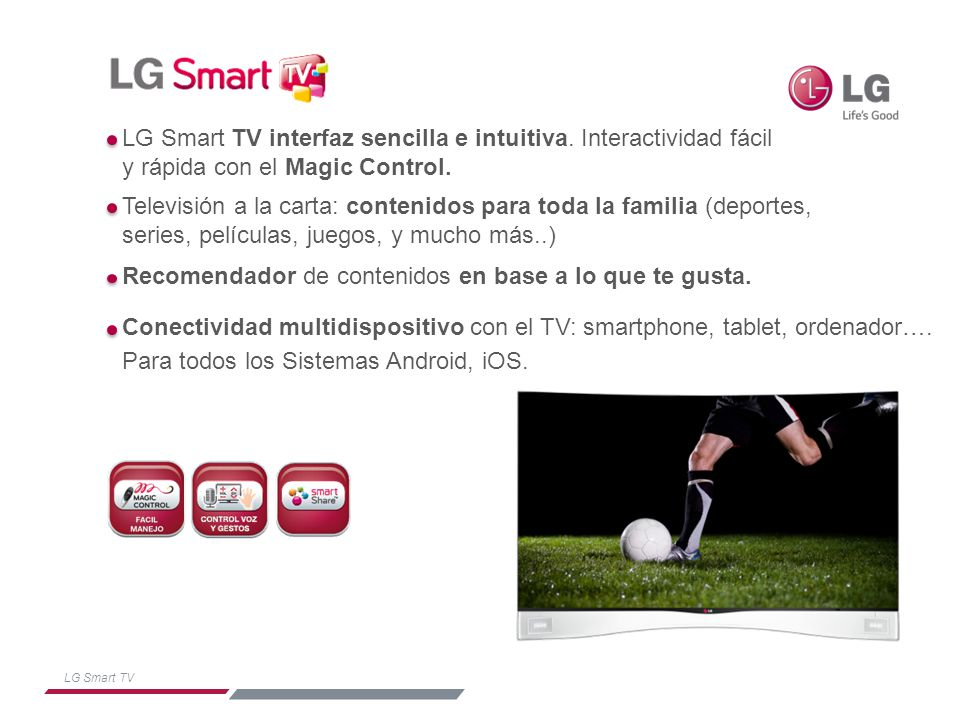 LG Smart TV interfaz sencilla e intuitiva. Interactividad fácil