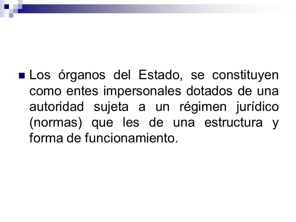 Los órganos del Estado, se constituyen como entes impersonales dotados de una autoridad sujeta a un régimen jurídico (normas) que les de una estructura y forma de funcionamiento.