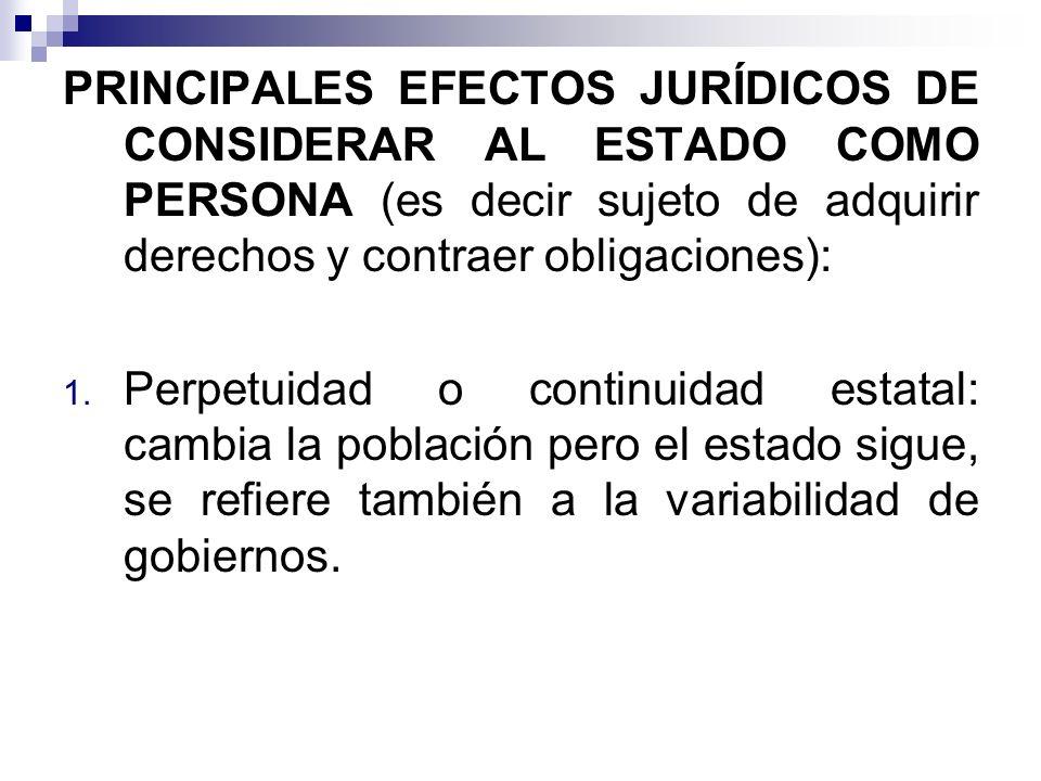 PRINCIPALES EFECTOS JURÍDICOS DE CONSIDERAR AL ESTADO COMO PERSONA (es decir sujeto de adquirir derechos y contraer obligaciones):