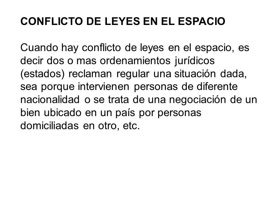 CONFLICTO DE LEYES EN EL ESPACIO