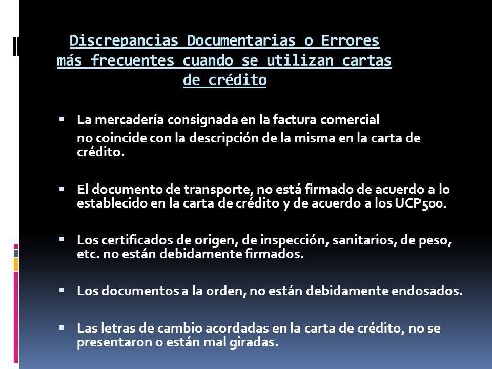 Discrepancias Documentarias o Errores más frecuentes cuando se utilizan cartas de crédito