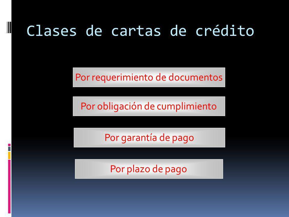 Clases de cartas de crédito