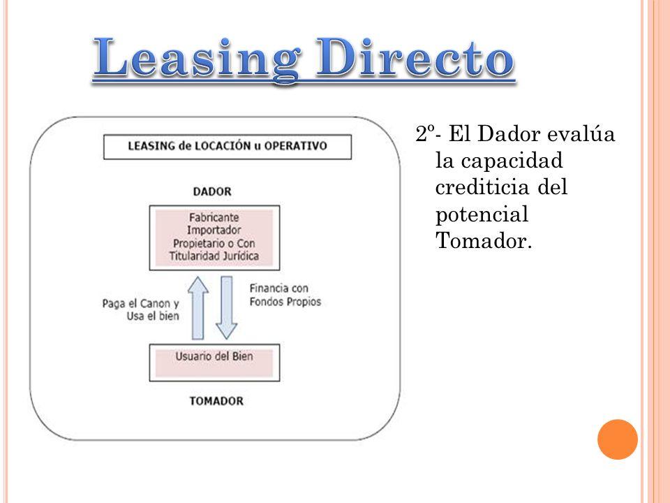 Leasing Directo 2º- El Dador evalúa la capacidad crediticia del potencial Tomador.