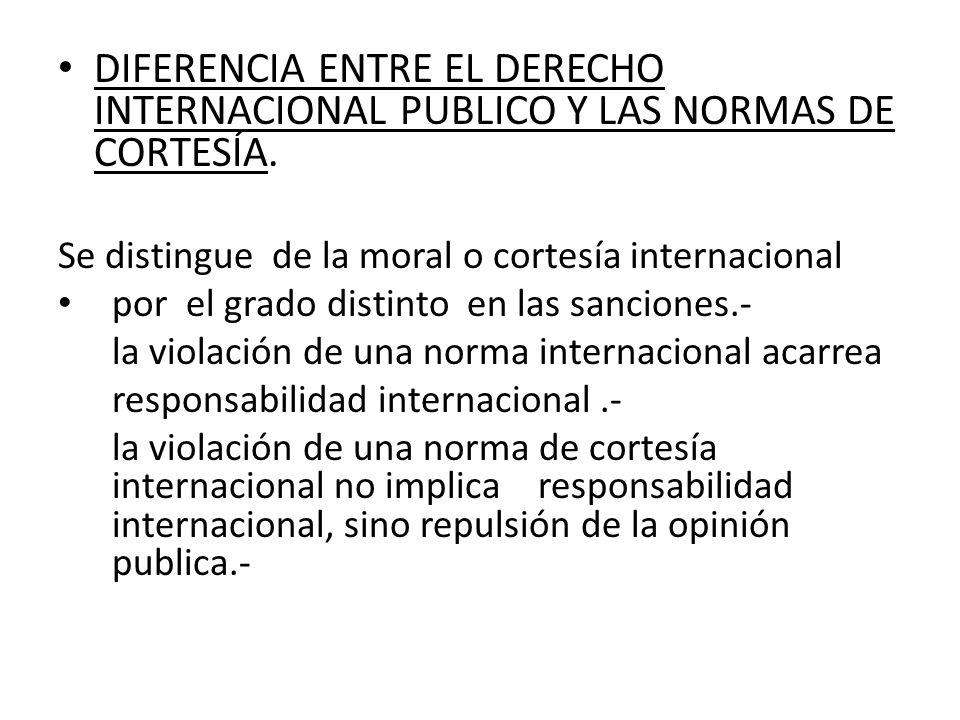 DIFERENCIA ENTRE EL DERECHO INTERNACIONAL PUBLICO Y LAS NORMAS DE CORTESÍA.