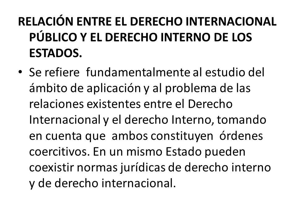 RELACIÓN ENTRE EL DERECHO INTERNACIONAL PÚBLICO Y EL DERECHO INTERNO DE LOS ESTADOS.