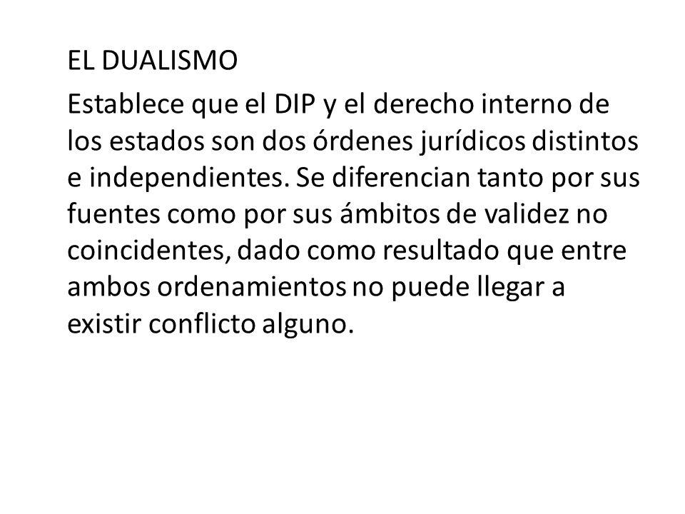 EL DUALISMO Establece que el DIP y el derecho interno de los estados son dos órdenes jurídicos distintos e independientes.