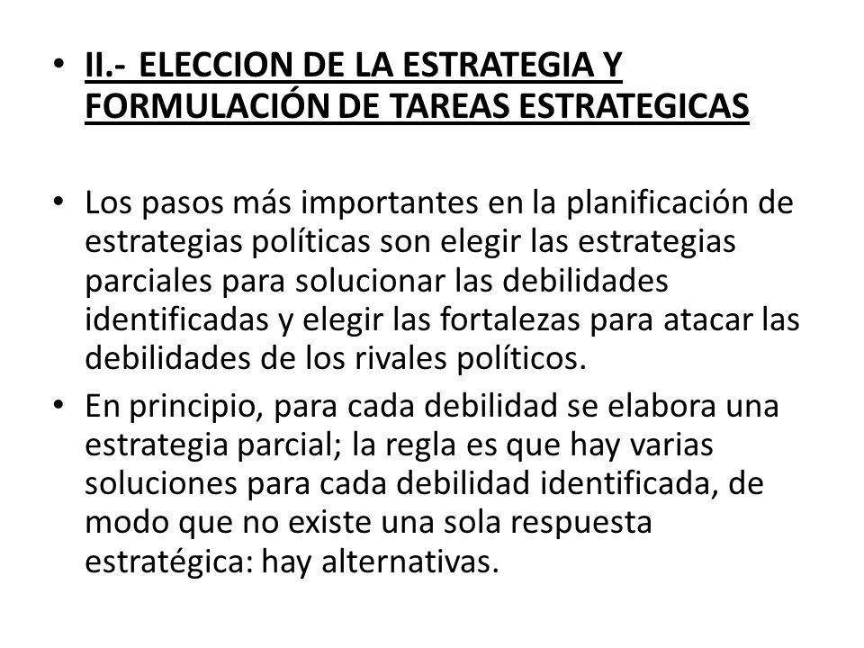 II.- ELECCION DE LA ESTRATEGIA Y FORMULACIÓN DE TAREAS ESTRATEGICAS