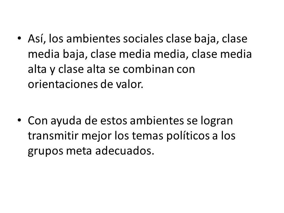 Así, los ambientes sociales clase baja, clase media baja, clase media media, clase media alta y clase alta se combinan con orientaciones de valor.