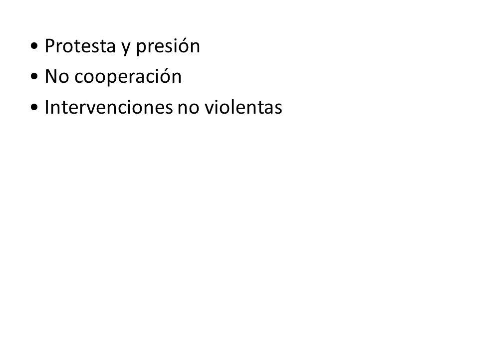 • Protesta y presión • No cooperación • Intervenciones no violentas