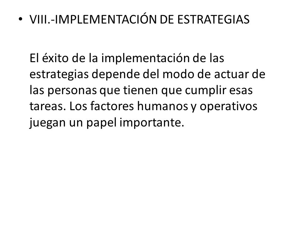 VIII.-IMPLEMENTACIÓN DE ESTRATEGIAS