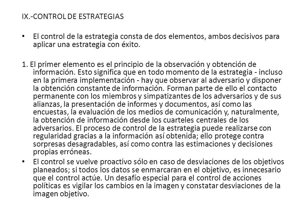IX.-CONTROL DE ESTRATEGIAS