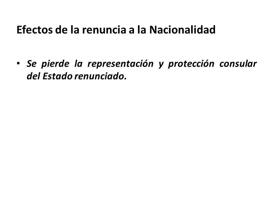 Efectos de la renuncia a la Nacionalidad