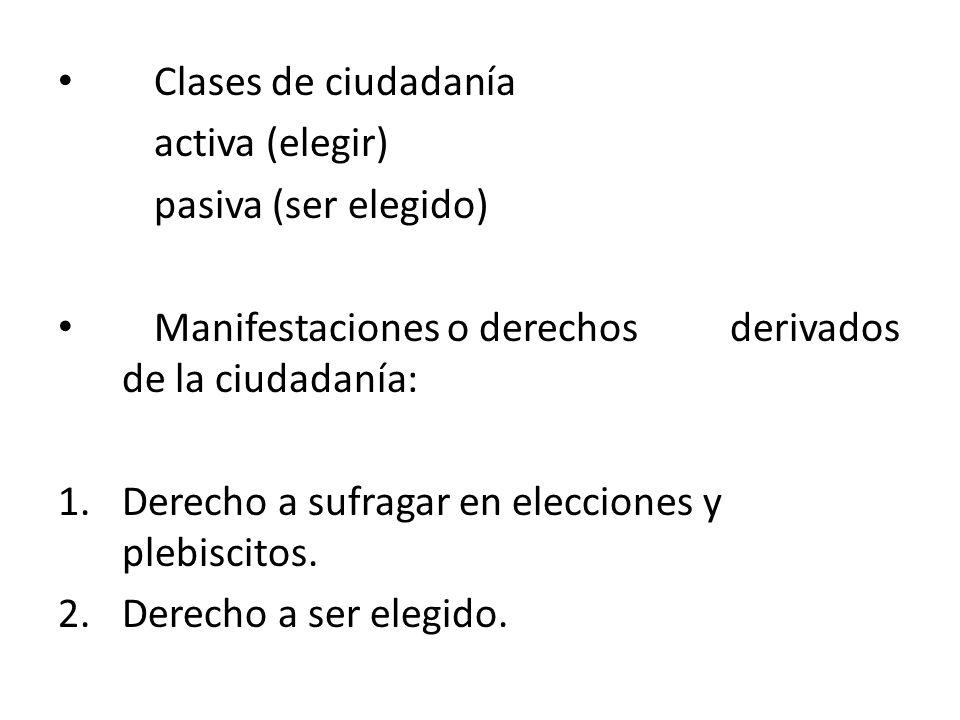 Clases de ciudadanía activa (elegir) pasiva (ser elegido) Manifestaciones o derechos derivados de la ciudadanía: