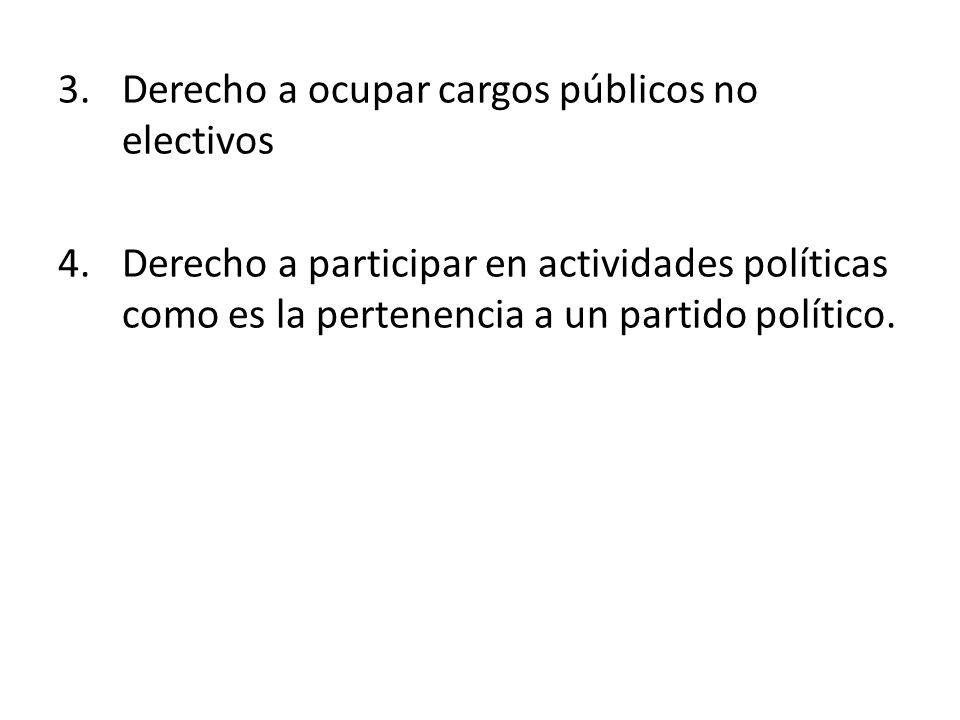 Derecho a ocupar cargos públicos no electivos