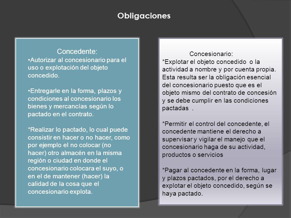 Obligaciones Concedente: Concesionario: