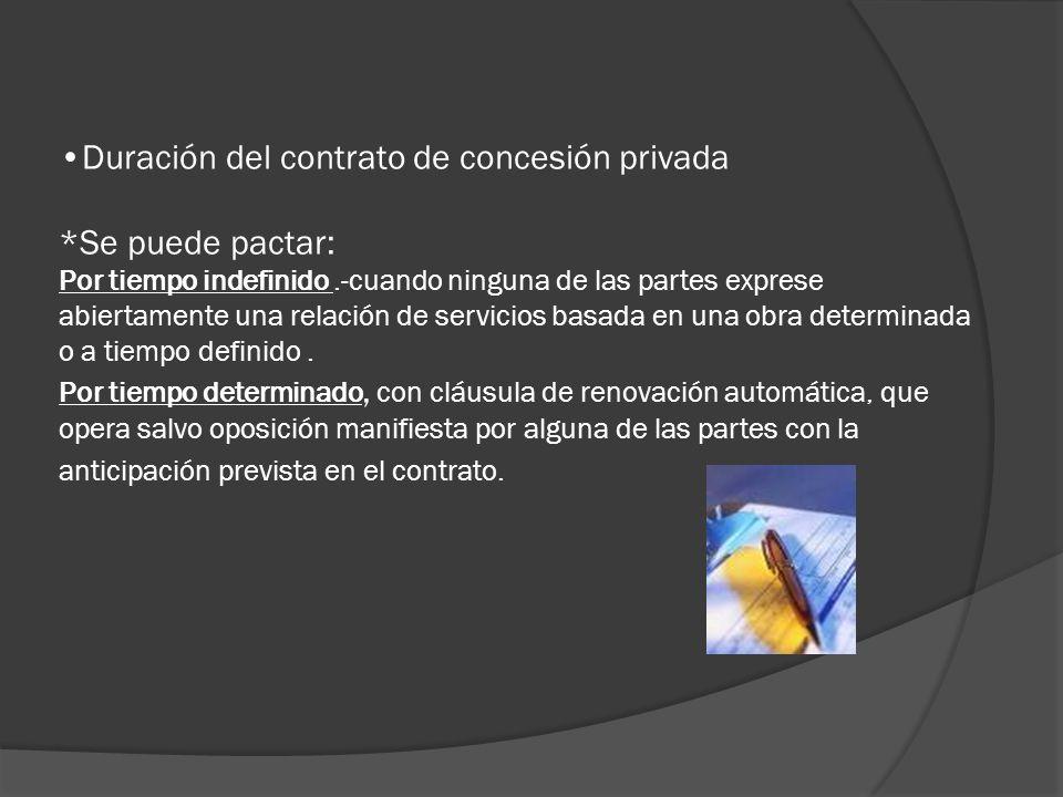 Duración del contrato de concesión privada