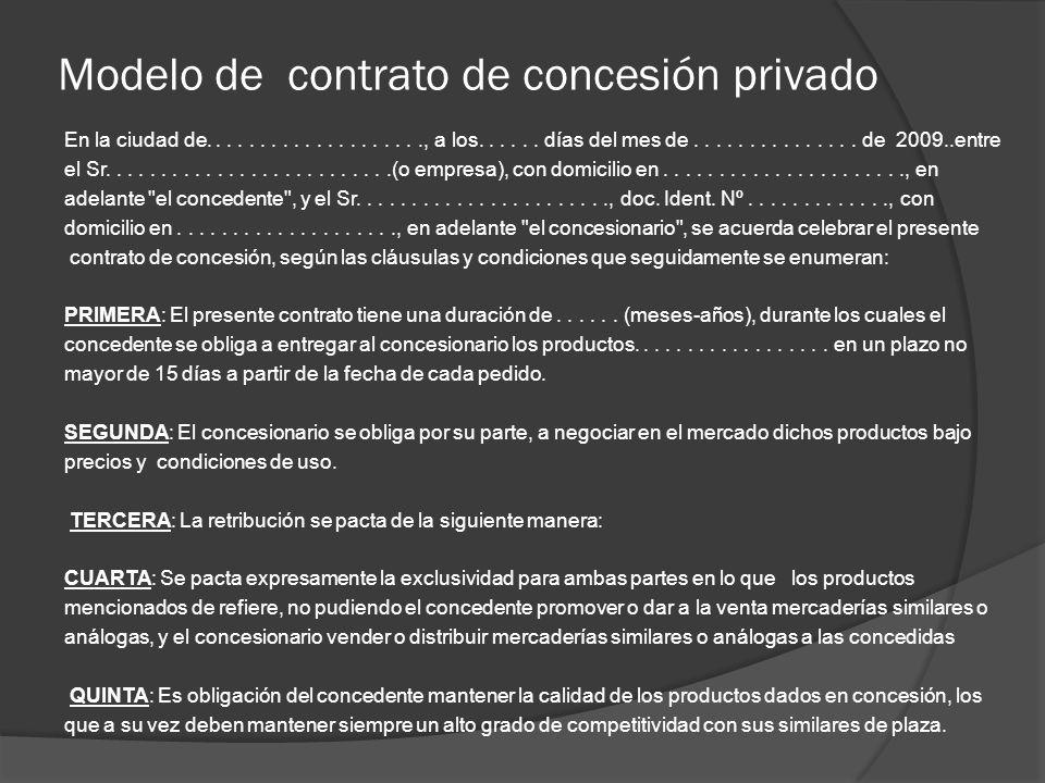 Modelo de contrato de concesión privado