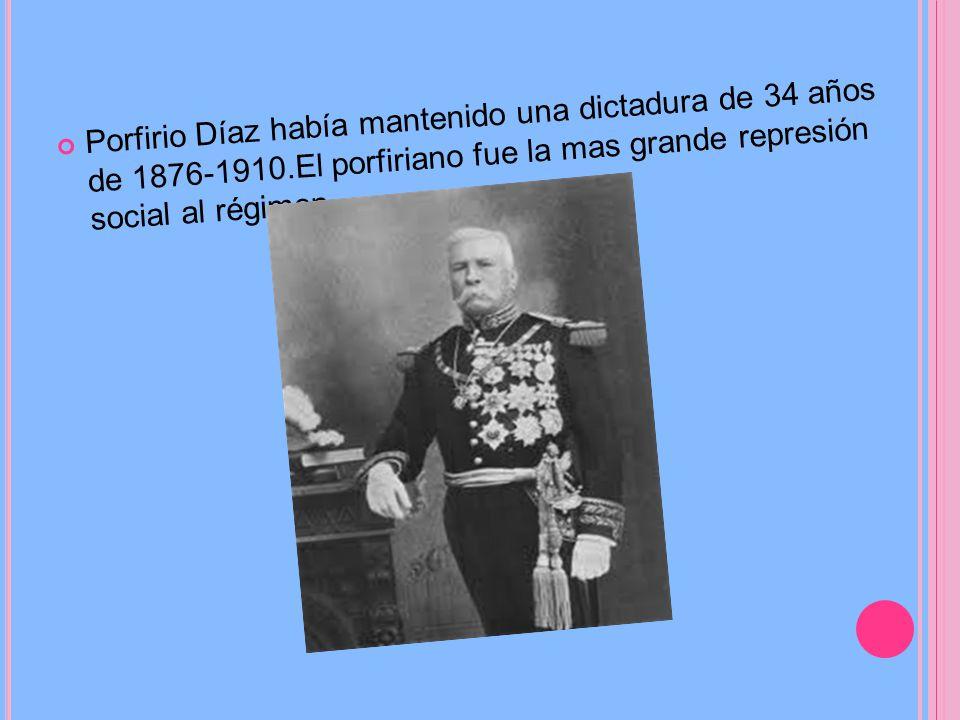 Porfirio Díaz había mantenido una dictadura de 34 años de 1876-1910