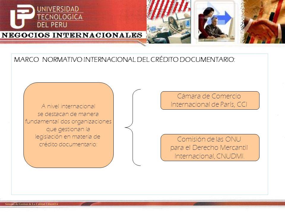 MARCO NORMATIVO INTERNACIONAL DEL CRÉDITO DOCUMENTARIO: