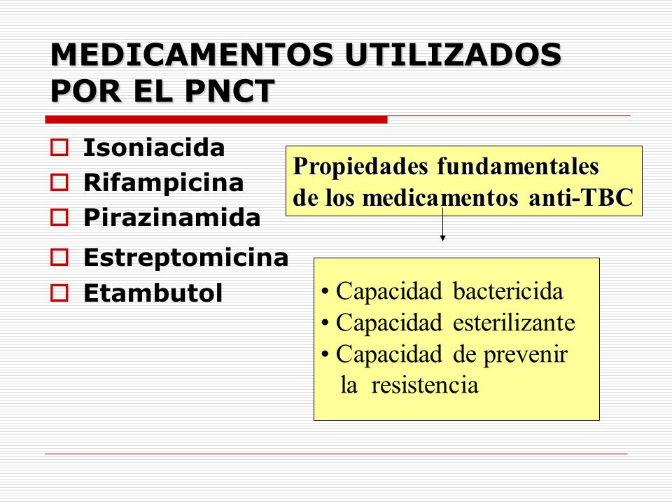 MEDICAMENTOS UTILIZADOS POR EL PNCT