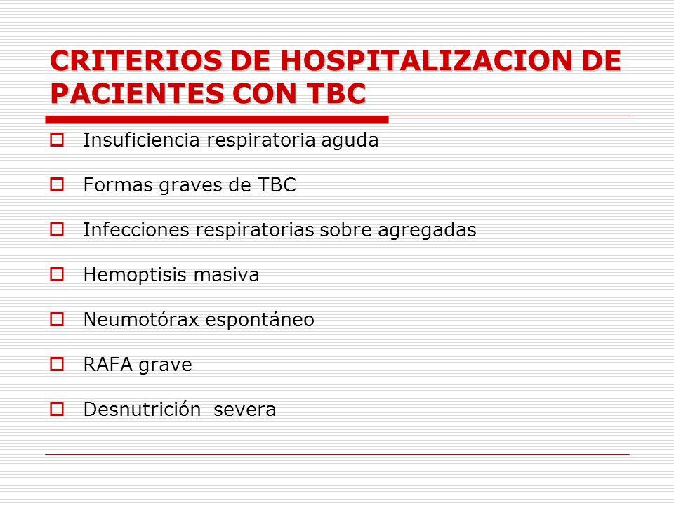 CRITERIOS DE HOSPITALIZACION DE PACIENTES CON TBC