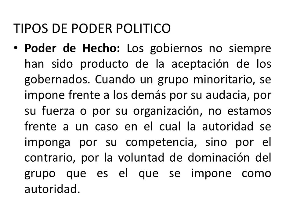 TIPOS DE PODER POLITICO