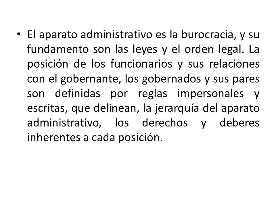 El aparato administrativo es la burocracia, y su fundamento son las leyes y el orden legal.