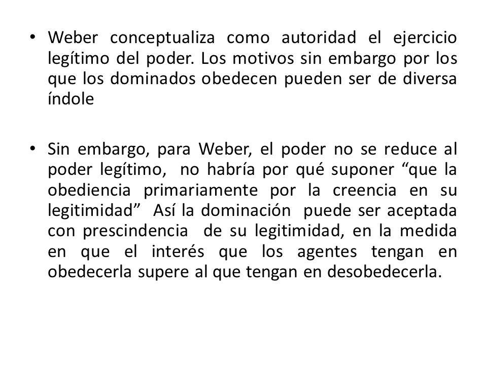 Weber conceptualiza como autoridad el ejercicio legítimo del poder