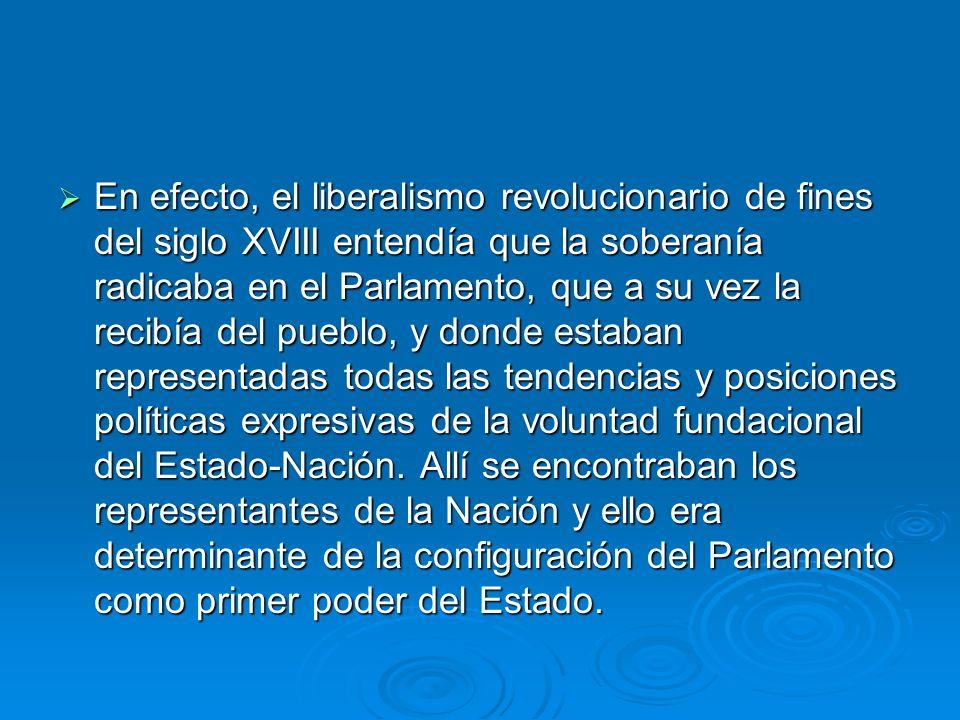 En efecto, el liberalismo revolucionario de fines del siglo XVIII entendía que la soberanía radicaba en el Parlamento, que a su vez la recibía del pueblo, y donde estaban representadas todas las tendencias y posiciones políticas expresivas de la voluntad fundacional del Estado-Nación.