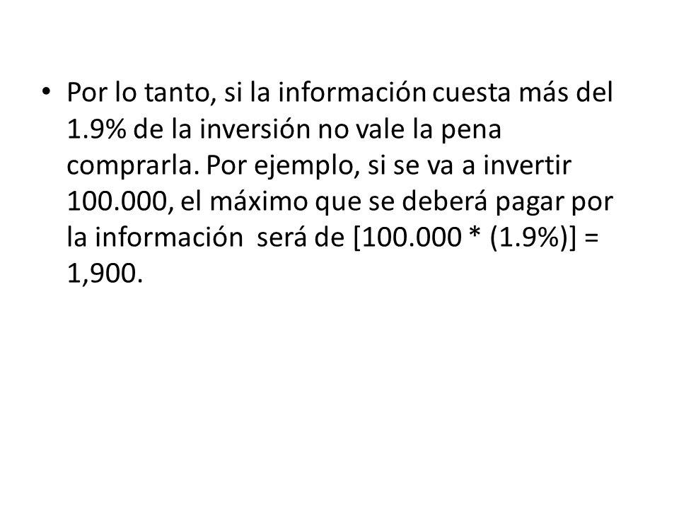 Por lo tanto, si la información cuesta más del 1